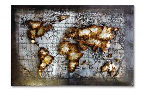 Metal Art 3D Wereldkaart wanddecoratie schilderij (op)