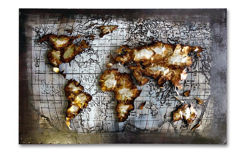 Metalen Schilderij Wereldkaart 1