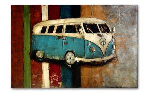 Metal Art 3D VW bus oldtimer Wanddecoratie-Schilderij