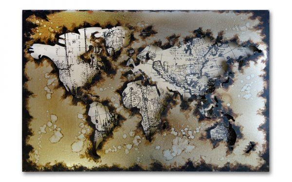 Metalen schilderij Wereldkaart 2