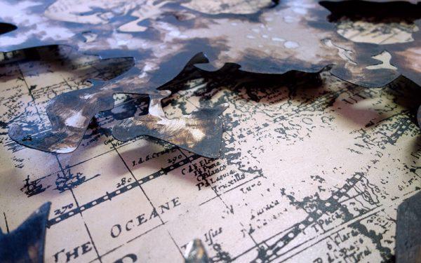 Metal Art 3D Wereldkaart Wanddecoratie Schilderij (in)