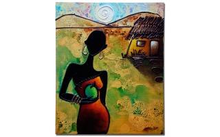 Afrikaanse vrouw met appel