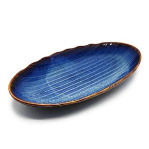 Serveerschaal blauw Vietnamees keramiek