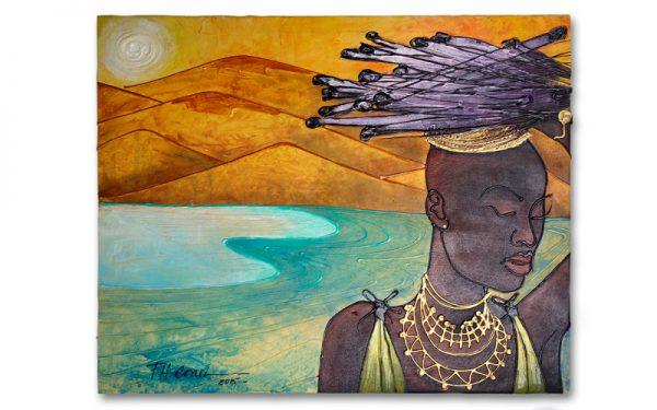Afrikaanse vrouw schilderij