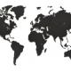Kopie van Wereldkaart Hout Zwart 90 X 54 cm