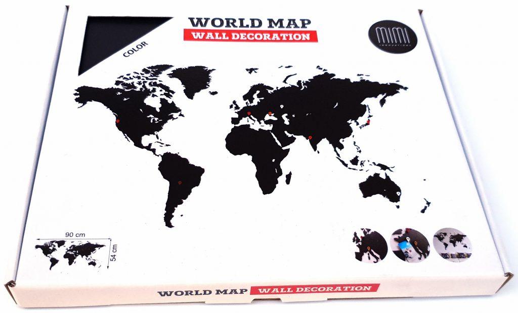 Wereldkaart hout zwart