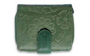 Leren dames portemonnee groen