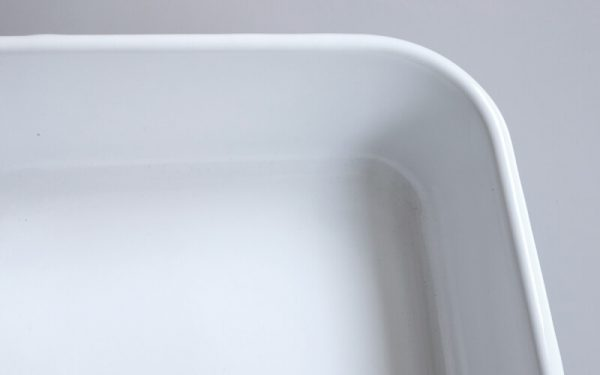 Geëmailleerde Ovenschaal grijs/wit