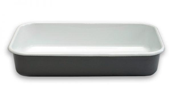 serveerschaal geëmailleerd grijs/wit