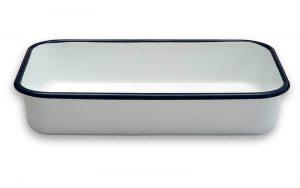 Geëmailleerde Ovenschaal Wit/Blauw