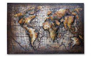 Metal Art 3D Wereldkaart metalen schilderijGoud