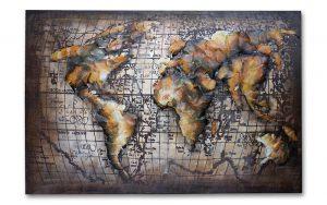 Metal Art 3D wanddecoratie- schilderij wereldkaart gold