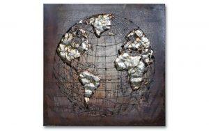 Metal Art 3D Schilderij Wereldbol